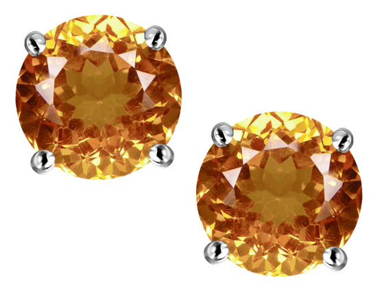 Star K Classic Round  6mm Simulated Imperial Yellow Topaz  Four Prong  Stud Earrings