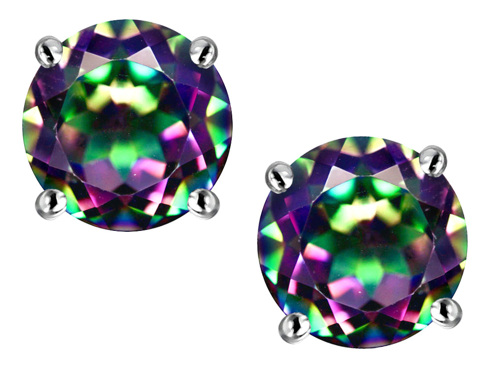 Star K Classic Round  6mm Rainbow Mystic Topaz  Four Prong  Stud Earrings