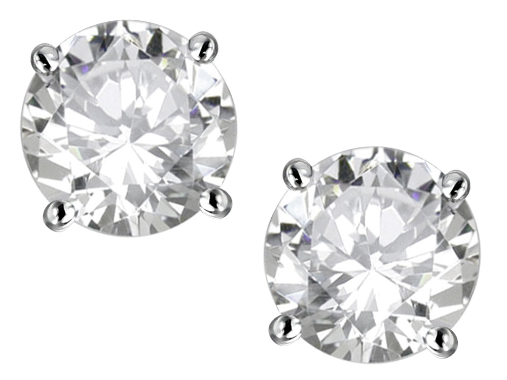 Star K Classic Round  6mm Genuine White Topaz  Four Prong  Stud Earrings
