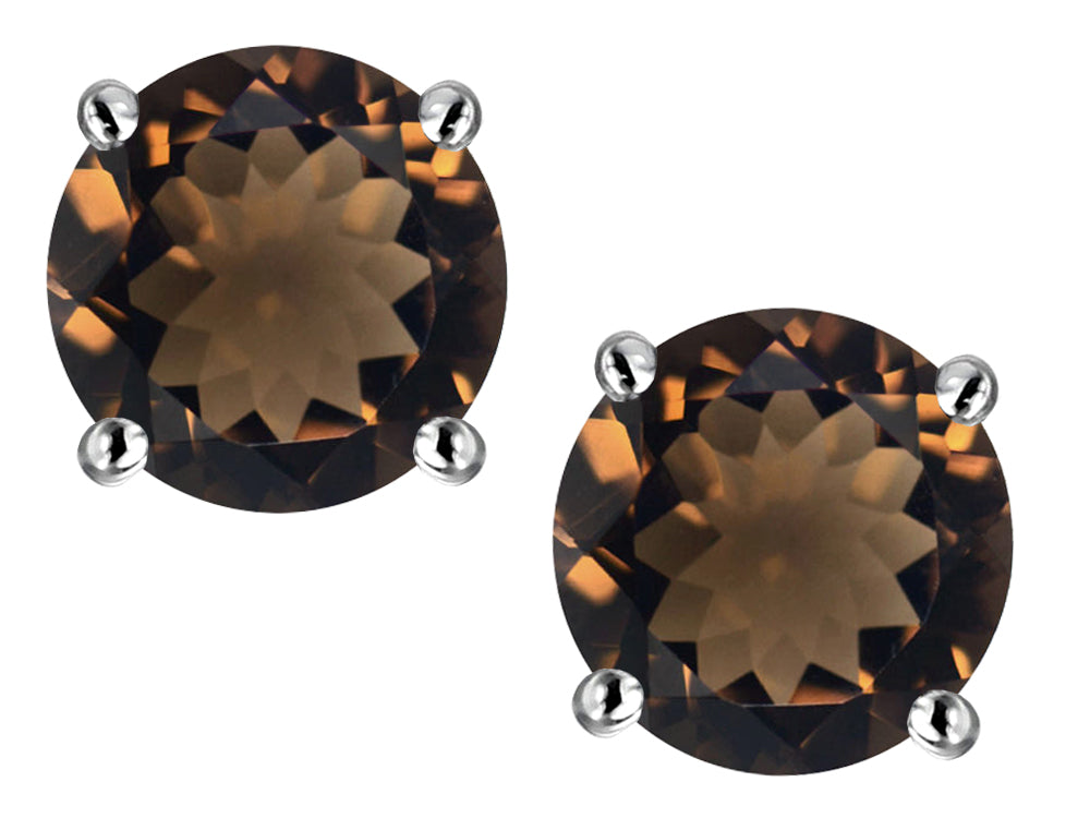 Star K Classic Round  6mm Genuine Smoky Quartz  Four Prong  Stud Earrings