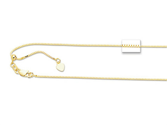 Finejewelers 14K Yellow Gold 22 Inch bright-cut Adjustable Box Chain Necklace Lobster Clasp and Small Heart Charm