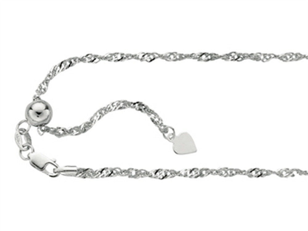 Rhodium Plated 22 Inch bright-cut Adjustable Singapore Chain Necklace with Lobster Clasp and Small Heart Charm