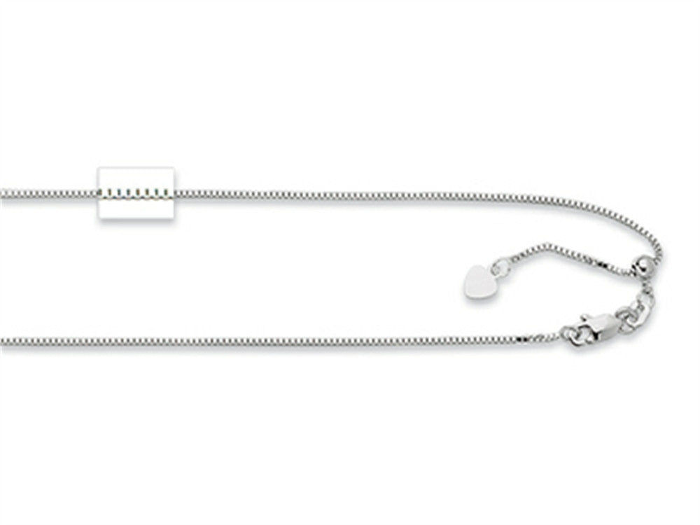 Rhodium Plated 22 Inch bright-cut Adjustable Box Chain Necklace with Lobster Clasp and Small Heart Charm