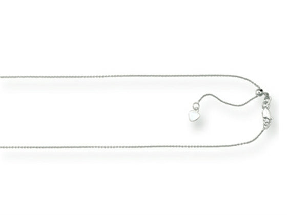 Rhodium Plated 22 Inch bright-cut Adjustable Cable Chain Necklace with Lobster Clasp and Small Heart Charm