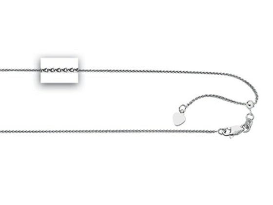 Ruthenium Plated 22 Inch bright-cut Adjustable Spiga Chain Necklace with Lobster Clasp and Heart
