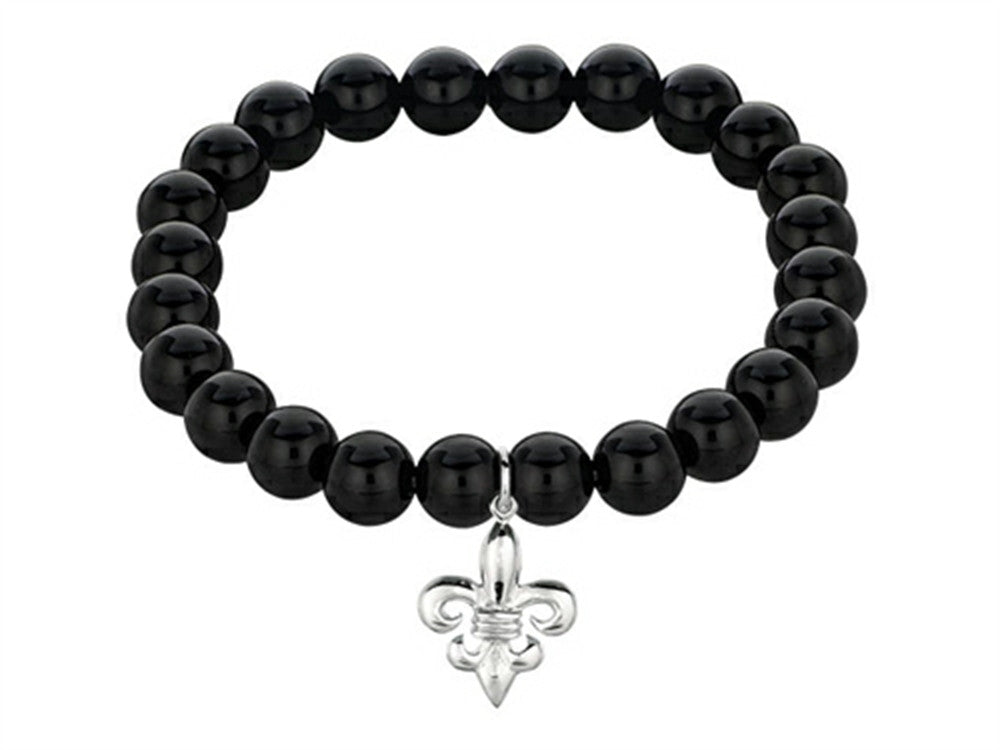 Phillip Gavriel 925 Sterling Silver 7.5 Inch Black Onyx Stretch Bead Bracelet with Fleur De Lis Charm