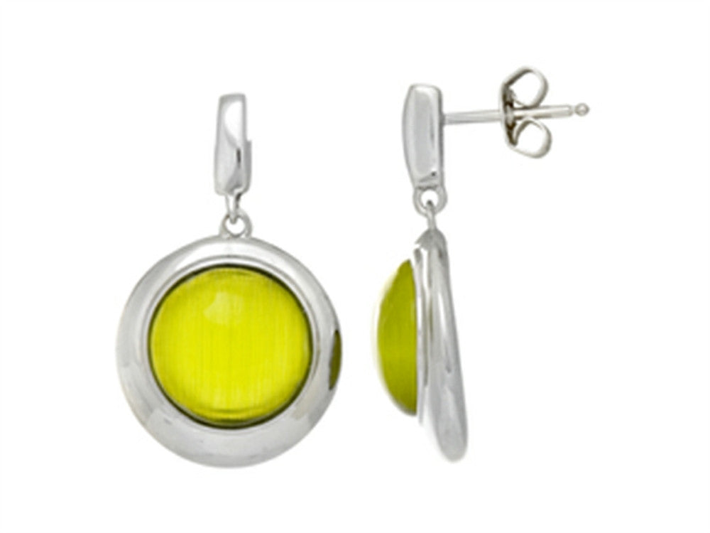 Finejewelers Sterling Silver Light Green Round Simulated Cat's Eye Drop Earrings