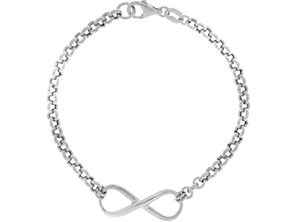 "Finejewelers Sterling Silver 7.25"" Infinity Shiny Rolo Ladies Bracelet"
