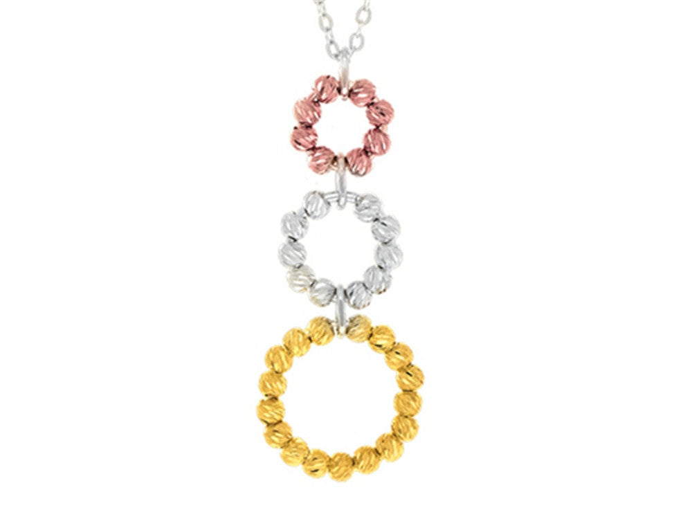 Finejewelers Sterling Silver, Yellow and Rose Finish Ladies Necklace