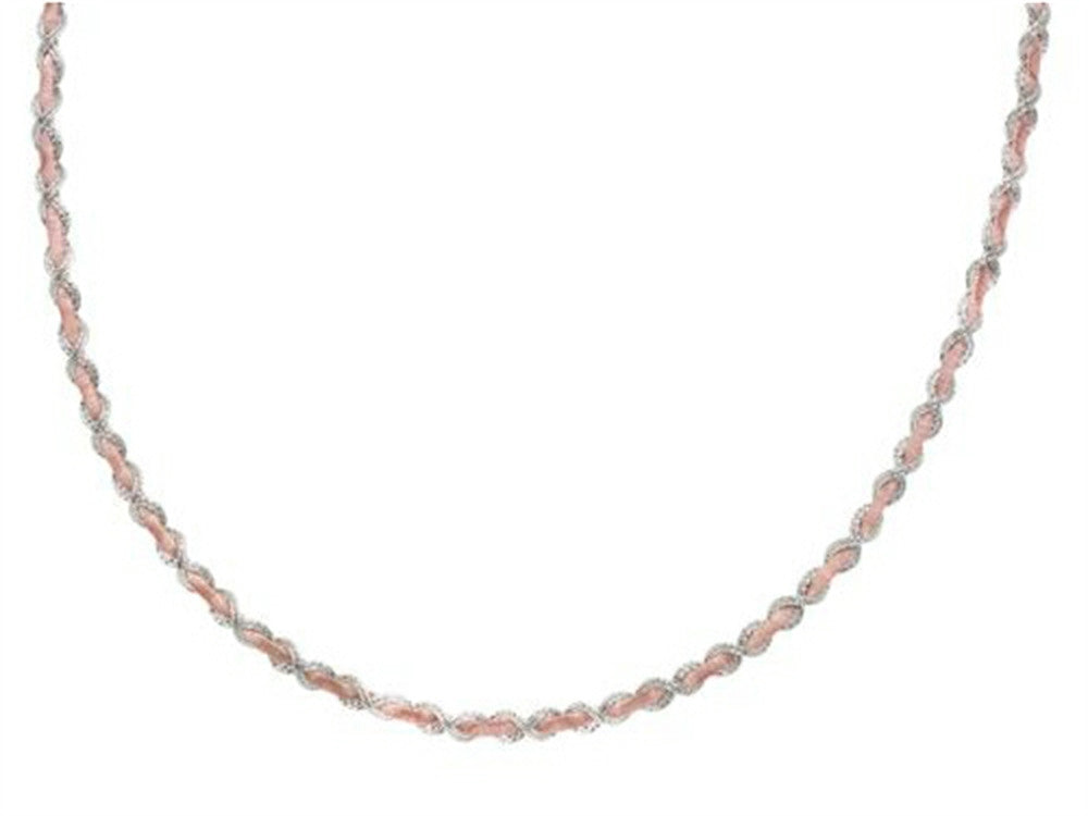 Finejewelers Sterling Silver and Rose Bright Cut Necklace