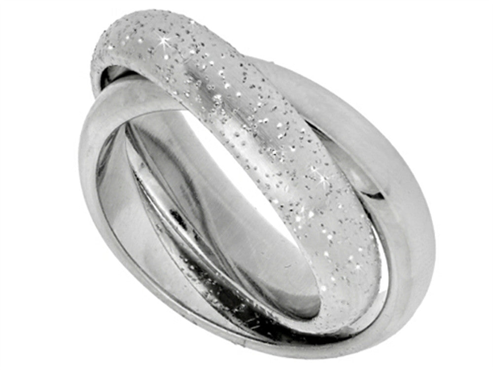 Finejewelers Sterling Silver Textured Stardust Two Interconnected Bands