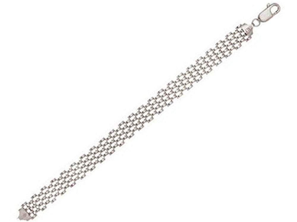 "Sterling Silver 7.25"" 10mm Panther Ladies Bracelet"