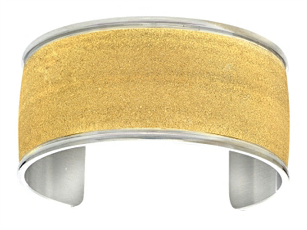 Finejewelers Stainless Steel with Yellow Glitter Finish Cuff Bangle