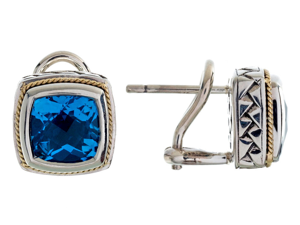 Balissima By Effy Collection Sterling Silver and 18k Yellow Gold Blue Topaz Earrings