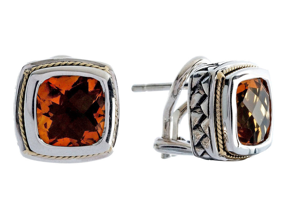 Balissima By Effy Collection Sterling Silver and 18k Yellow Gold Citrine Earrings