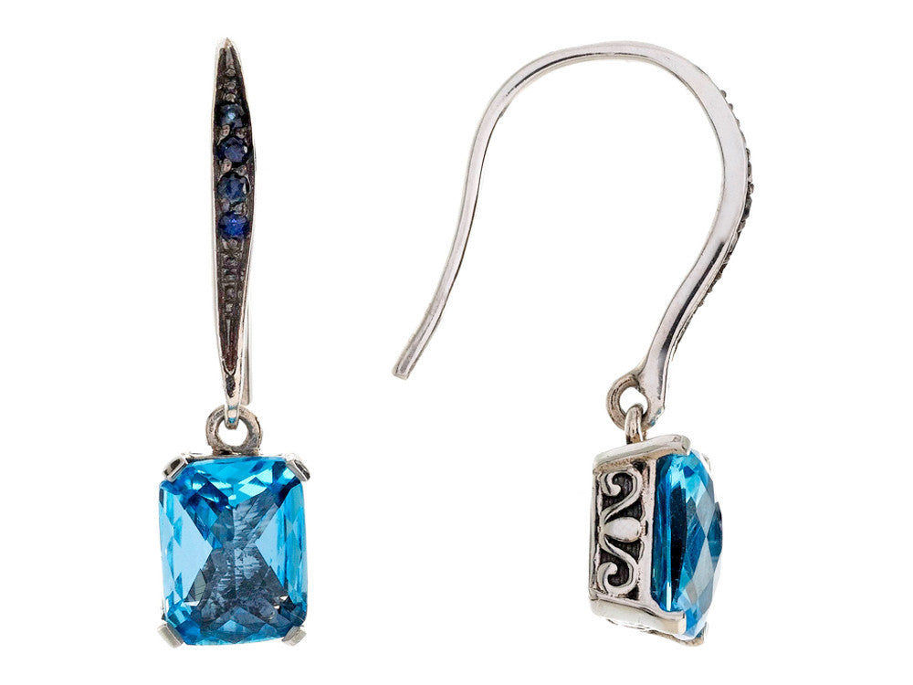 Balissima By Effy Collection Sterling Silver Blue Topaz and Sapphire Earrings