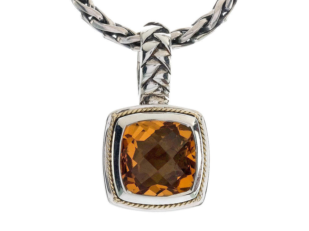 Balissima By Effy Collection Sterling Silver and 18k Yellow Gold Citrine Pendant Necklace