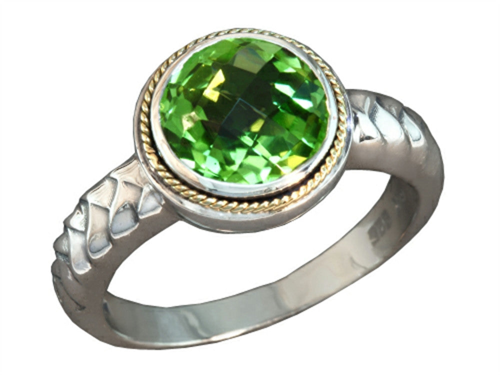 Balissima By Effy Collection Sterling Silver and 18k Yellow Gold Peridot Ring