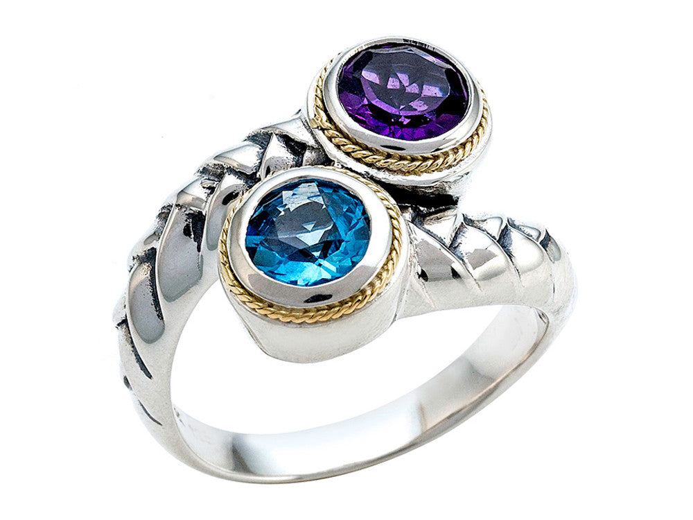 Balissima By Effy Collection Sterling Silver and 18k Yellow Gold Amethyst and Blue Topaz Ring