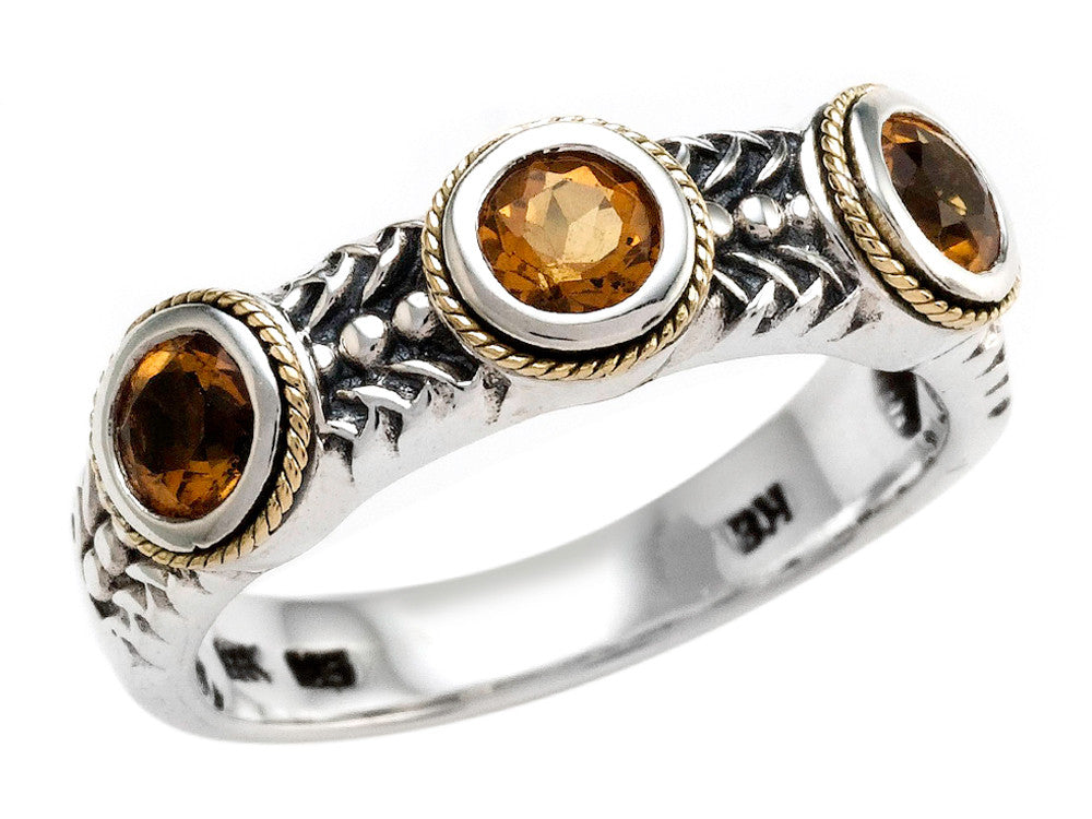 Balissima By Effy Collection Sterling Silver and 18k Yellow Gold Citrine Ring