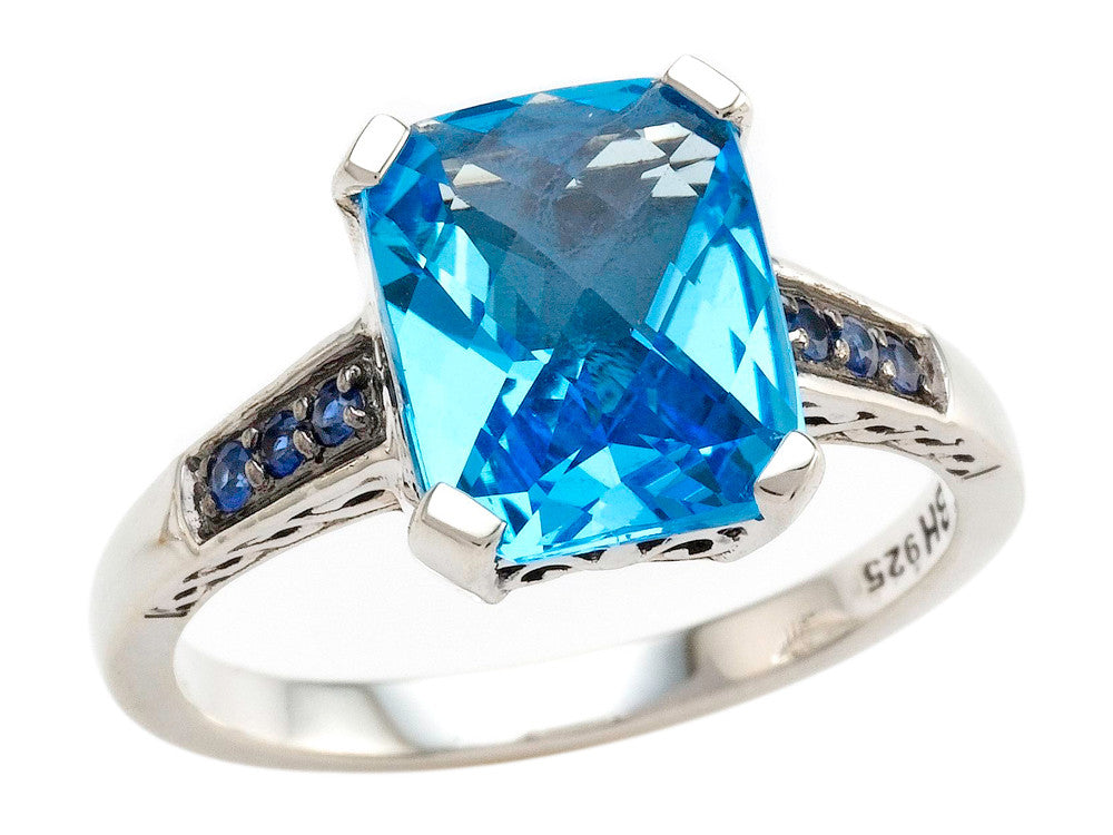 Balissima By Effy Collection Sterling Silver Blue Topaz and Sapphire Ring