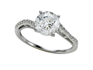 Zoe R White CZ Engagement Ring with Diamonds
