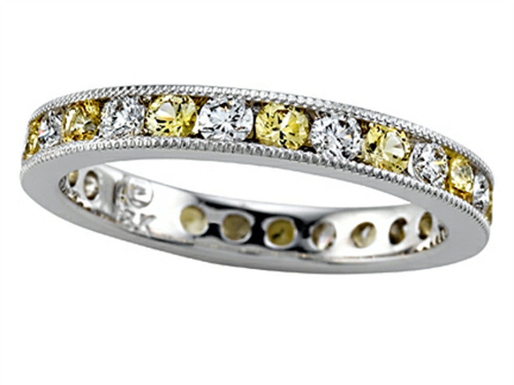 Karina B Round Diamond and Yellow Sapphire Eternity Band With Milgrain