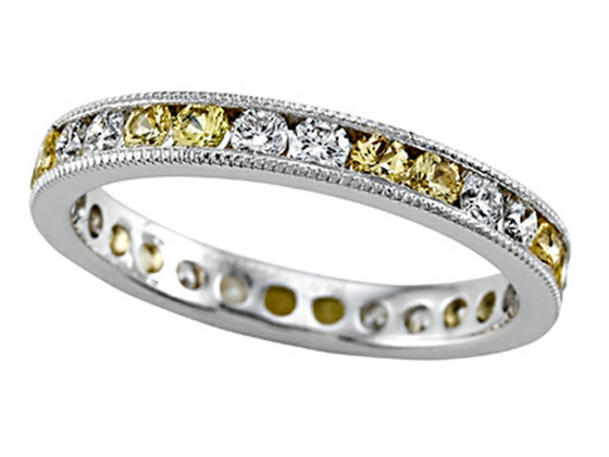 Karina B Diamond and Yellow Sapphire Eternity Band With Milgrain