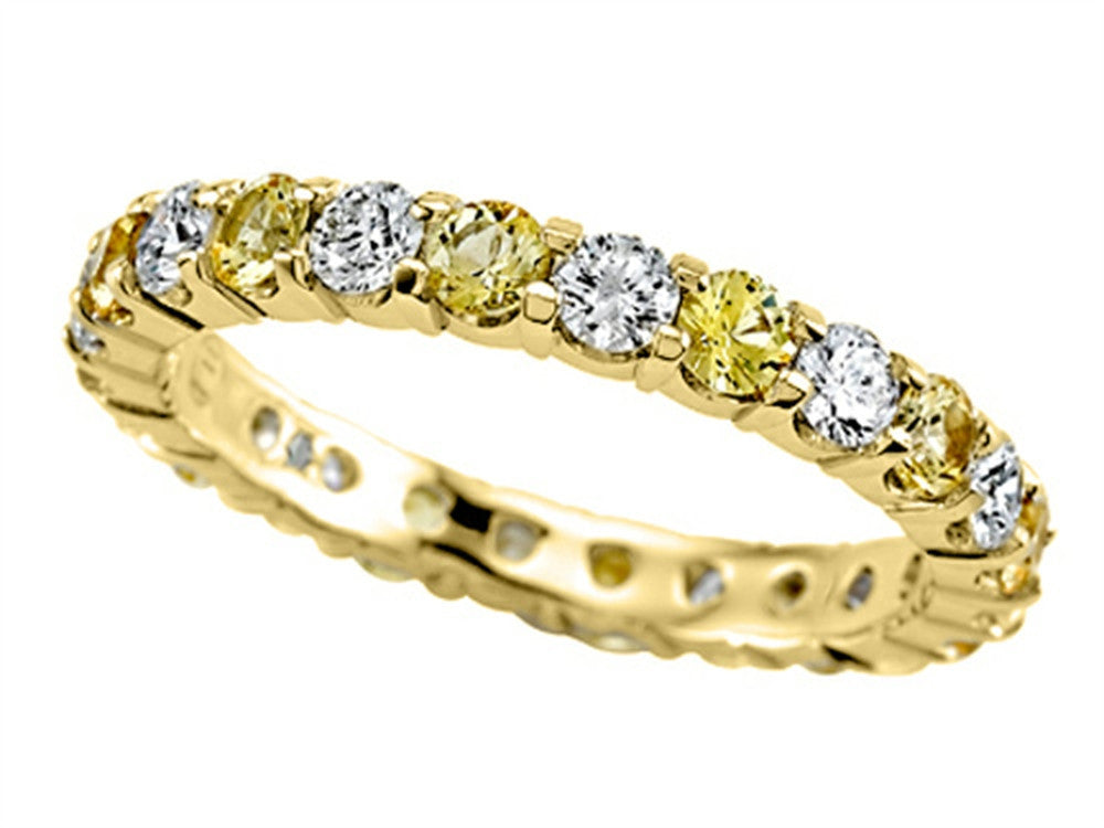Karina B Round Diamond and Yellow Sapphire Eternity Band