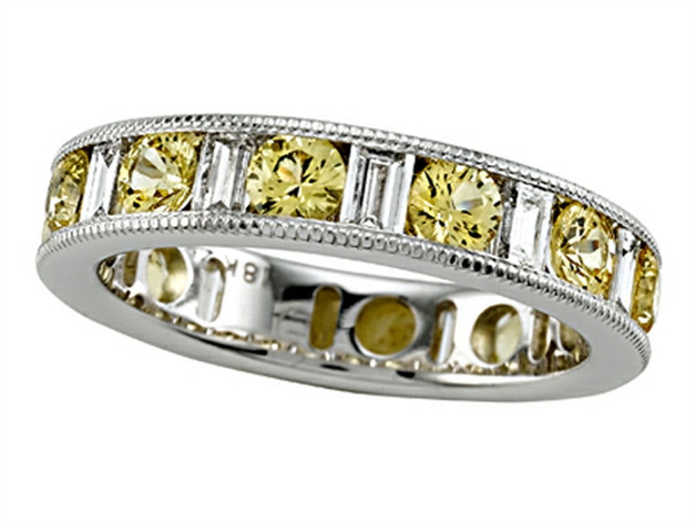 Karina B Baguette Diamond and Round Yellow Sapphire Eternity Band With Milgrain