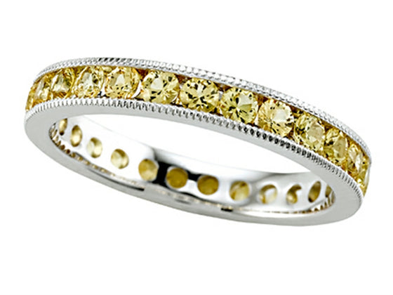 Karina B Round Yellow Sapphire Eternity Band With Milgrain
