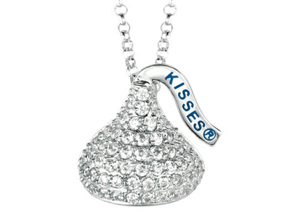 April Birth Month CZ's Medium Flat Back Shaped Hershey`s Kiss Pendant Necklace- Chain Included