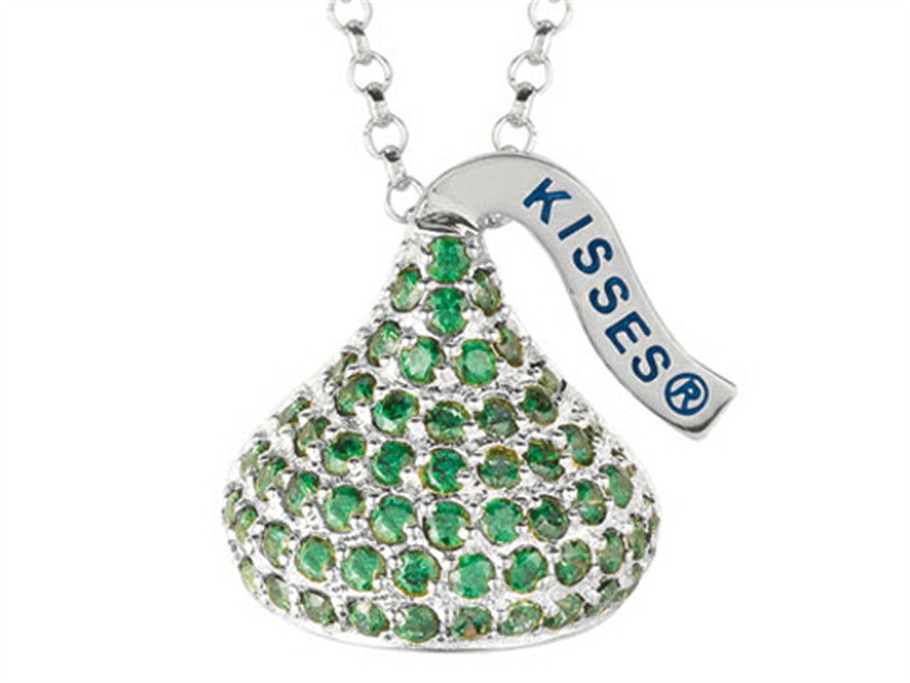 August Birth Month CZ's Medium Flat Back Shaped Hershey`s Kiss Pendant Necklace- Chain Included