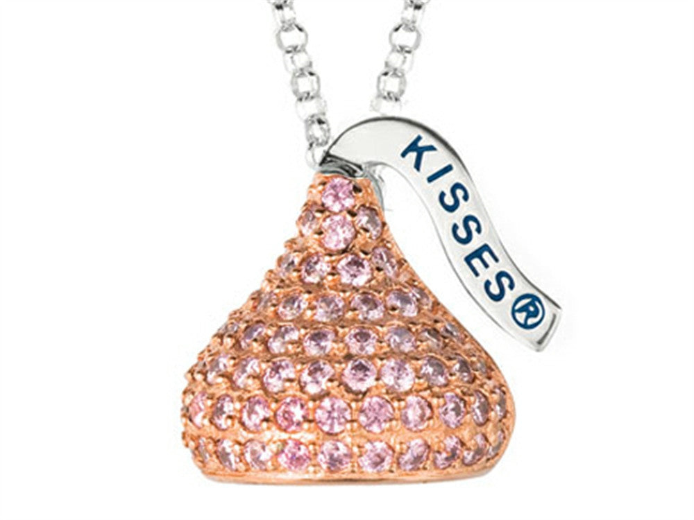 October Birth Month CZ's Medium Flat Back Shaped Hershey`s Kiss Pendant Necklace- Chain Included