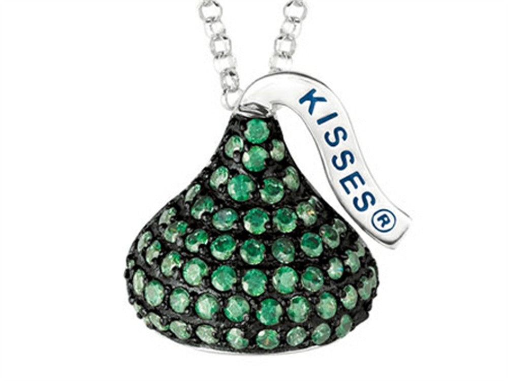 May Birth Month CZ's Medium Flat Back Shaped Hershey`s Kiss Pendant Necklace- Chain Included