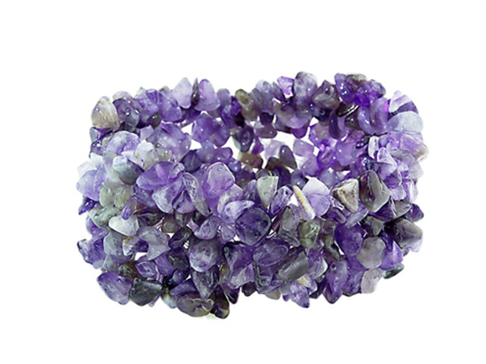 "Amethyst Stretchy Bracelet - 1.5"" Wide"