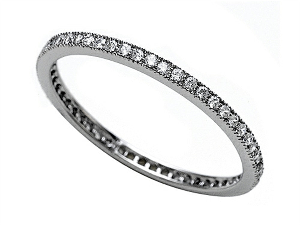 Zoe R 925 Sterling Silver Micro Pave Hand Set Cubic Zirconia (CZ) Stackable Eternity Band