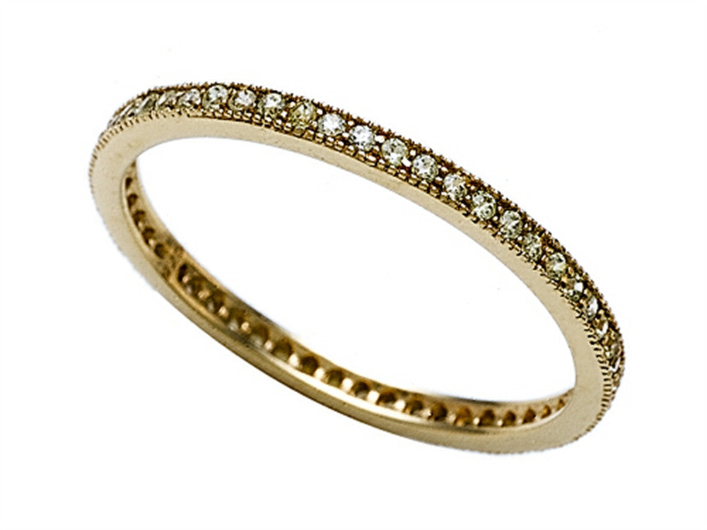 Zoe R Gold Plated Silver Micro Pave Cubic Zirconia Stackable Eternity Band