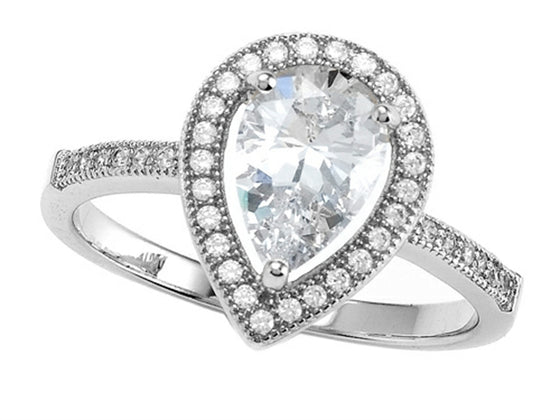 Zoe R 925 Sterling Silver Micro Pave Hand Set Cubic Zirconia (CZ) Pear Shape Engagement Ring