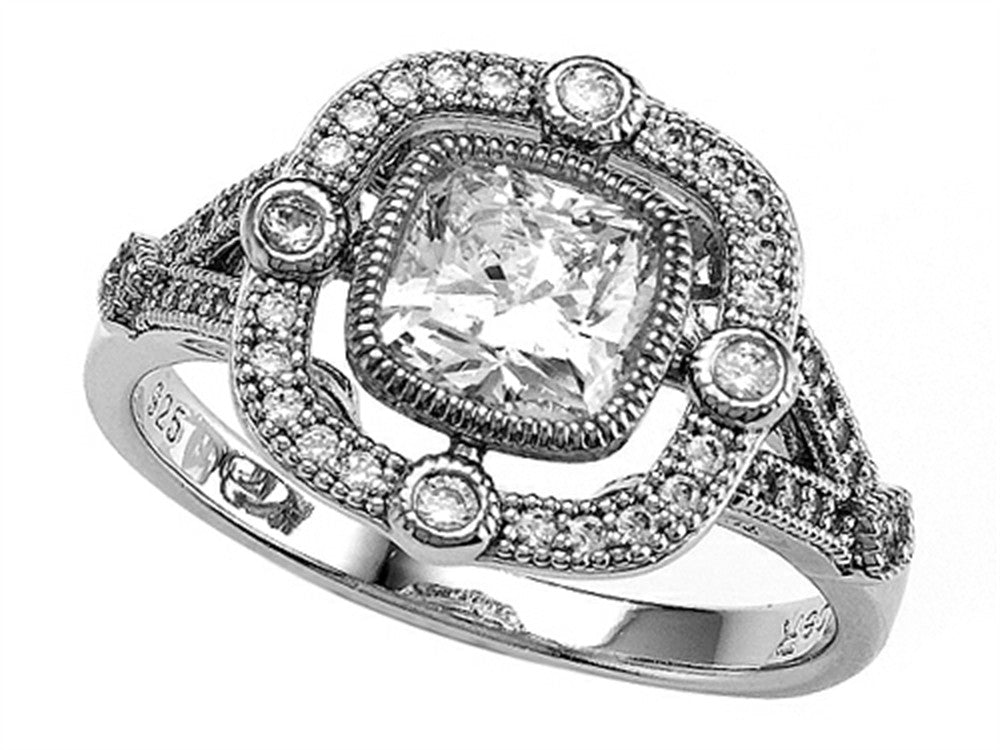 Zoe R 925 Sterling Silver Micro Pave Hand Set Cushion Cut Cubic Zirconia (CZ) Engagement Ring