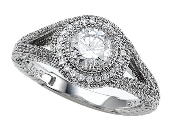 Zoe R 925 Sterling Silver Micro Pave Hand Set Cubic Zirconia (CZ) Engagement Ring