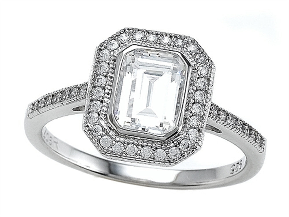 Zoe R 925 Sterling Silver Micro Pave Hand Set Cubic Zirconia (CZ) Halo Emerald Cut Center Engagement Ring