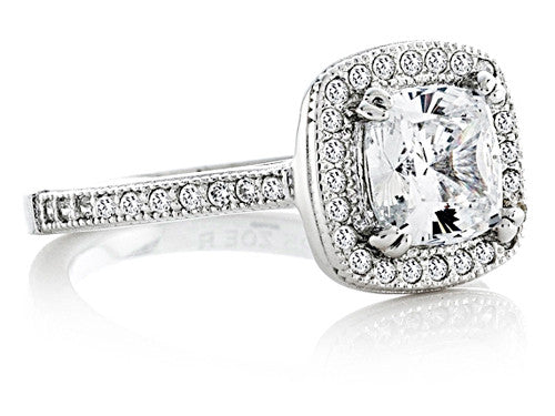 Zoe R Sterling Silver Hand Set Cubic Zirconia Halo Cushion-Cut Center Wedding Set Size 9.5
