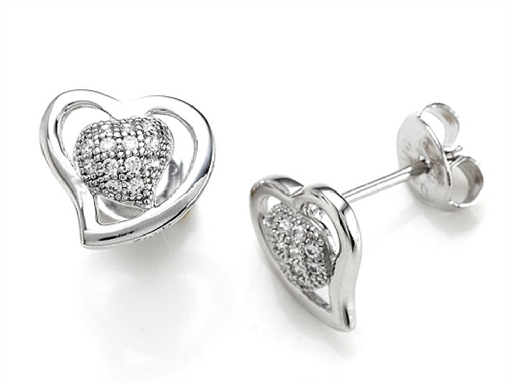 Zoe R 925 Sterling Silver Micro Pave Hand Set Cubic Zirconia (CZ) Heart Shape Earrings