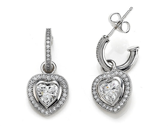 Zoe R 925 Sterling Silver Micro Pave Hand Set Cubic Zirconia (CZ) One Row Small Hoop Earrings and Heart Shape