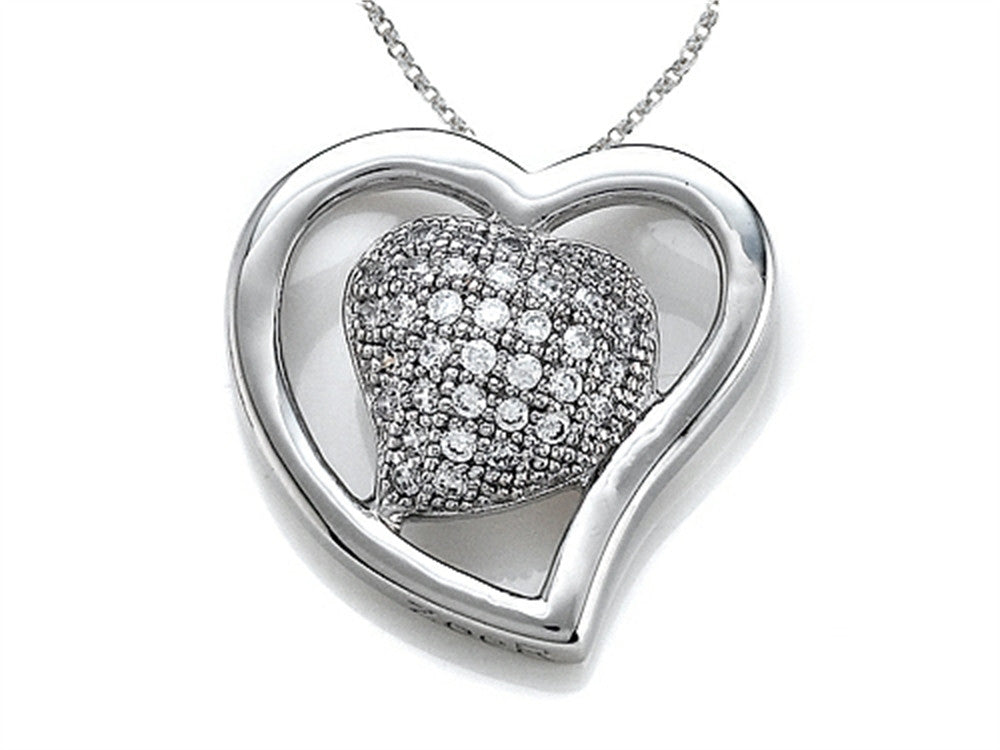 Zoe R 925 Sterling Silver Micro Pave Hand Set Cubic Zirconia (CZ) Heart Shape Pendant Necklace On 18 Inch Chain