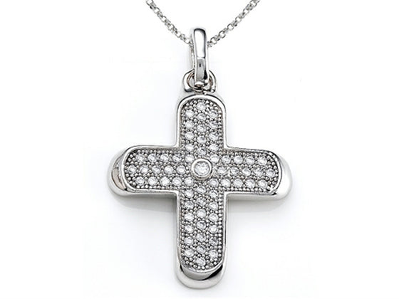 Zoe R 925 Sterling Silver Micro Pave Hand Set Cubic Zirconia (CZ) Medium Cross Pendant Necklace On 18