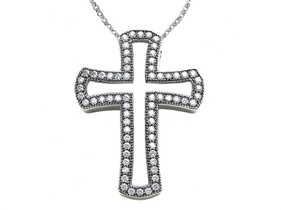 Zoe R Sterling Silver Micro Pave Hand Set Cubic Zirconia (CZ) Medium Cross Pendant Necklace
