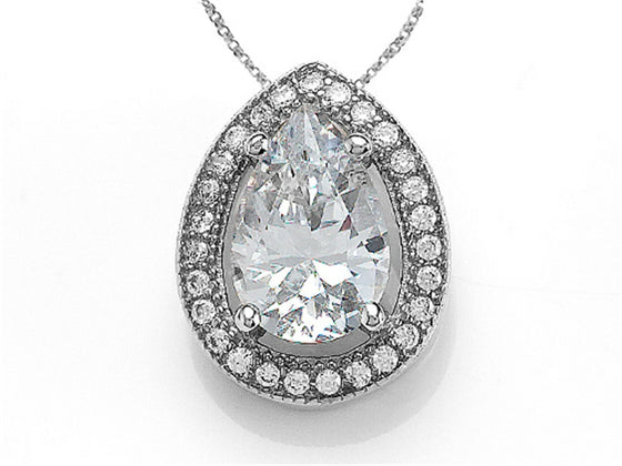 Zoe R 925 Sterling Silver Micro Pave Hand Set Cubic Zirconia (CZ) Pear Shape Pendant Necklace