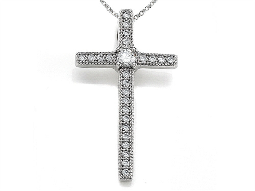 Zoe R 925 Sterling Silver Micro Pave Hand Set Cubic Zirconia (CZ) Medium Cross Pendant Necklace